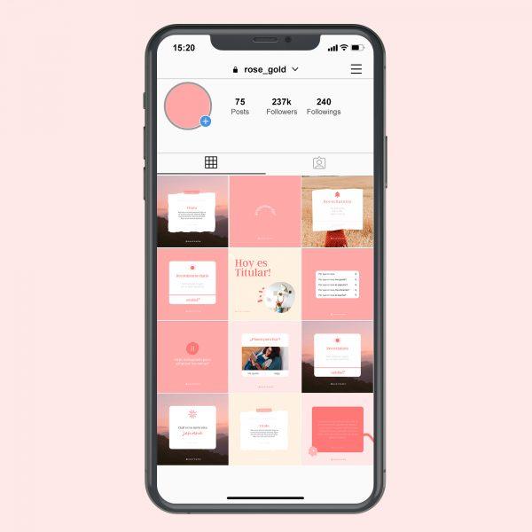 La herramienta perfecta para elevar tu marca. Tanto si pasas mucho tiempo diseñando tu contenido y no estás satisfecho con los resultados, como si no tienes tiempo de diseñar contenido y tu feed se ve desprolijo, este recurso es para ti! Podes adecuarlas y personalizarlas con textos e imágenes de tu marca. Te ayudaran a tener un instagram lindo, y generar branding manteniendo una constancia en tu look and feel y unaimagen más profesional de marca. Cómo funciona? Luego de comprar te llega un mail con el link a Canva. Encontrarás en Canva las plantillas. Se entregan identidad definida que podes personalizar según las características de tu marca. Los textos, imágenes, colores y la disposición de los elementos son editables. Para quién es este producto? Para todo aquel que busque reforzar su identidad visual, logrando coherencia y armonía visual en sus feed a costos accesibles. Emprendedores, marcas personales, pequeñas empresas, cualquiera que precise un boost en sus redes. Qué incluye? 20 plantillas editables formato 1:1 para posteo (cuadradas). 2 de regalo! Textos incluídos para guiarte a armar los contenidos (opcional) Importante: Una vez que compres tu producto, te enviaré un mail lo más rápido posible con el acceso a las plantillas. El precio del producto está expresado en dólares norteamericanos (USD). Actualmente acepto pagos vía Paypal, o MercadoPago si estás en Uruguay. Legal: Este producto fue autorizados por Estudio Guion para uso individual exclusivamente. Su venta o distribución está estrictamente prohibida.